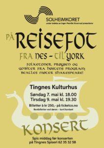 Solheimkoret - På Reisefot fra Nes til York - konsertplakat
