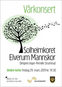 Plakat for Vårkonsert i Veldre kirke 29. mars 2019