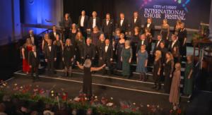 Solheimkoret på scena under City of Derry International Choir Festival 2019