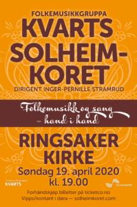Kvarts og Solheimkoret i Ringsaker kirke 19. april 2020 kl. 19.00