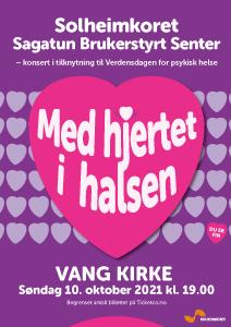 Hjerte i halsen - konsert med Solheimkoret og Sagatun Brukerstyrt Senter i Vang kirke 10. oktober 2021